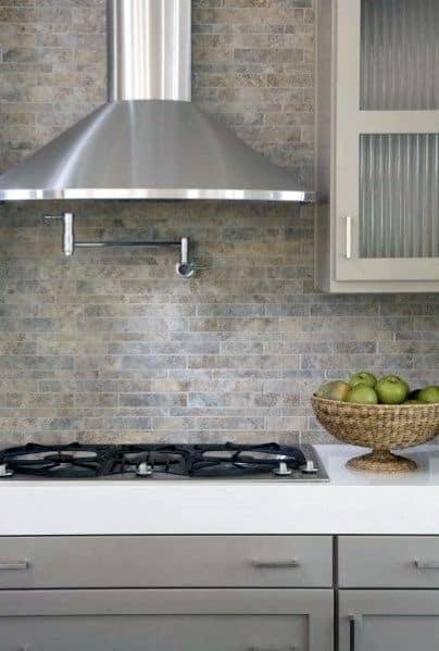 Unique Stone Backsplash Tile Grey Kitcen Ideas