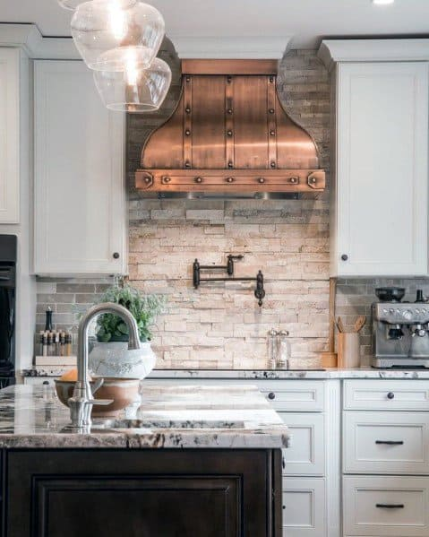 Unique Stone Backsplash