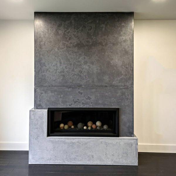 Unique Stone Concrete Fireplace Design