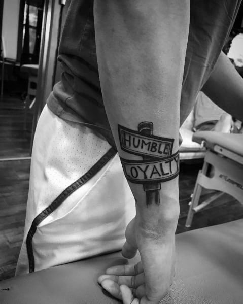 Unique Street Sign Tattoos For Men Outer Forearms