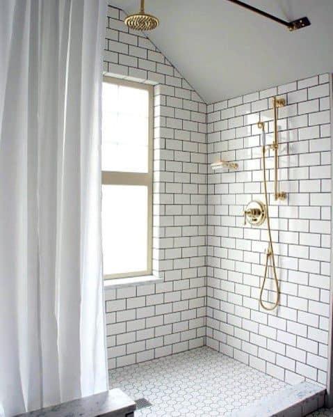 Unique Subway Tile Shower Home Ideas With Gold Fixtures