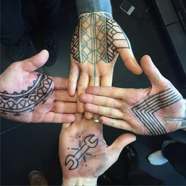 Unique Tattoo On Four Palms Men