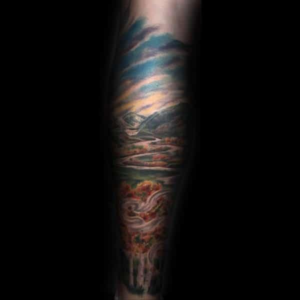 Unique Tattoo Sleeve Of Landscape For Men