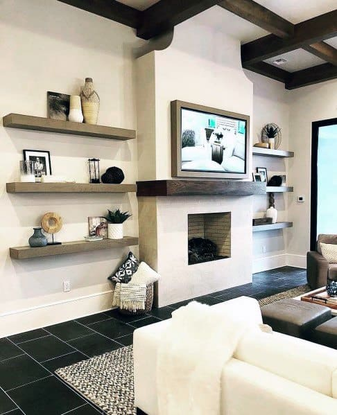 Unique Television Wall With Fireplace And Wood Shelves