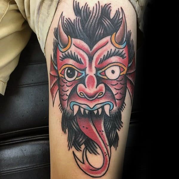 Unique Traditional Devil With Tounge Mens Thigh Tattoos