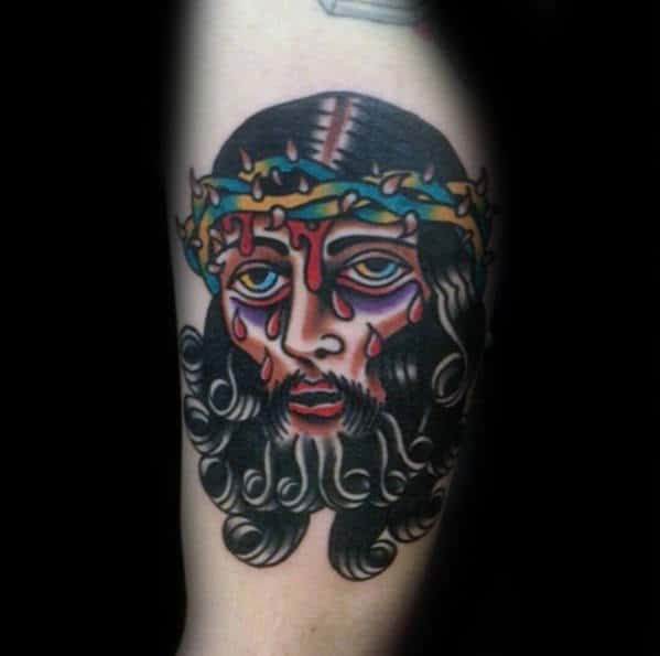 Unique Traditional Jesus Bruised Face Mens Inner Arm Bicep Tattoo
