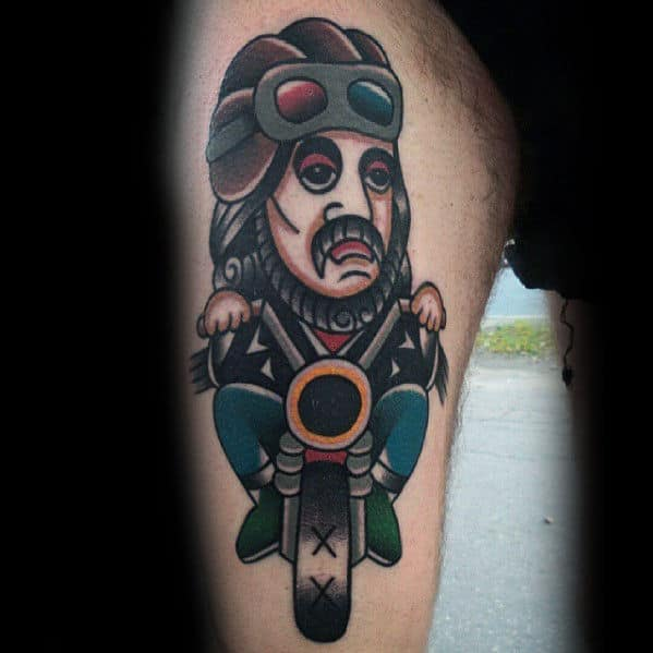 Unique Traditional Jesus Riding Motorcycle Mens Thigh Tattoo