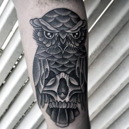 Unique Traditional Owl With Skull Guys Arm Tattoos