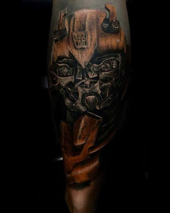 Unique Transformers Guys Leg Sleeve Tattoo With 3d Design