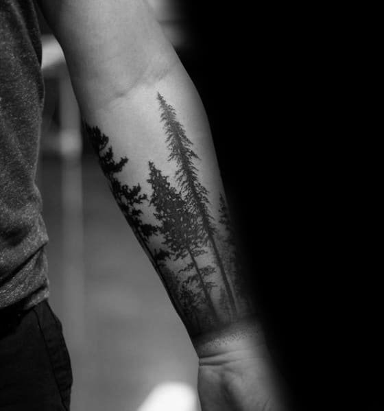Unique Tree Line Tattoos For Men On Forearm