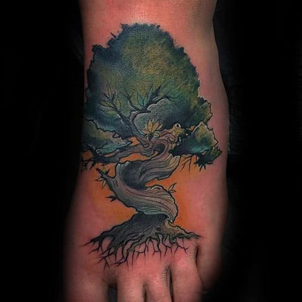 Unique Tree Roots Mens Foot Tattoos