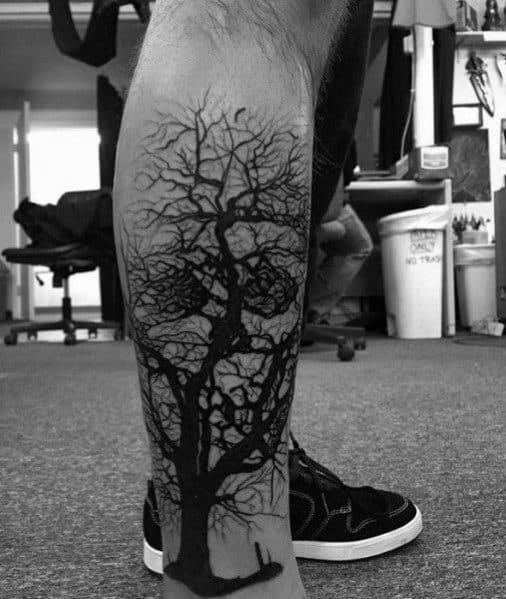 Unique Tree Skull Optical Illusion Leg Tattoos For Men