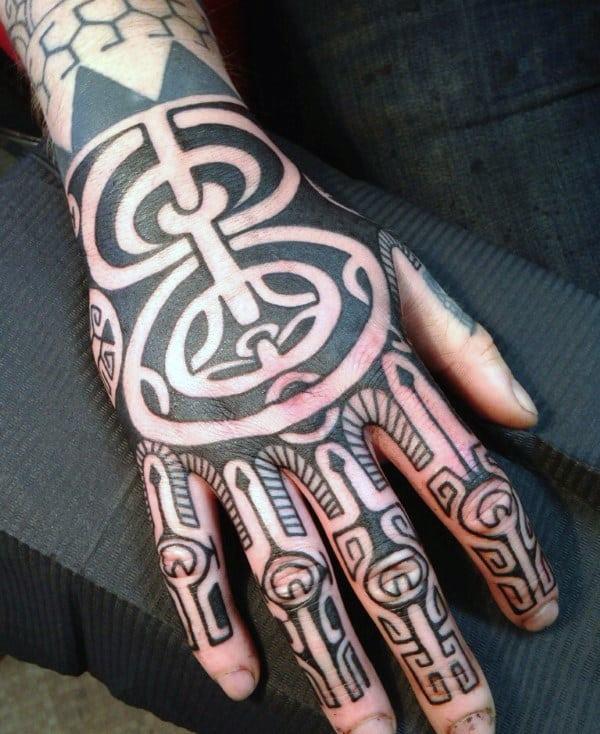 Unique Tribal Mens Hand Tattoo