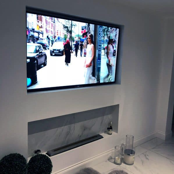 Unique Tv Walls Above Marble Gas Fireplace
