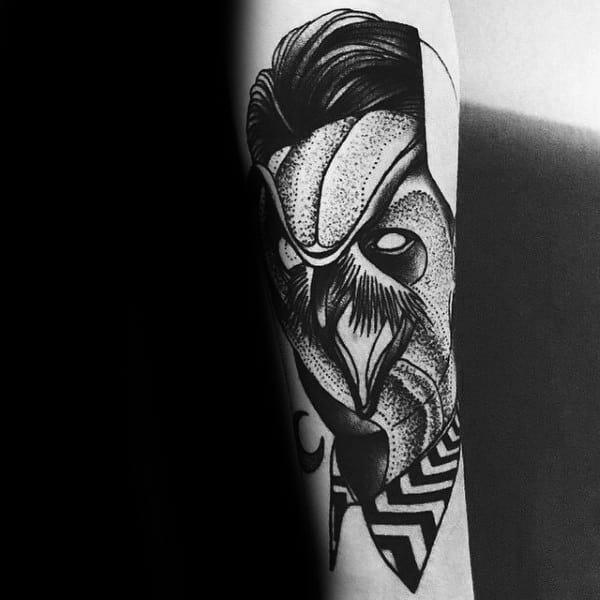 Unique Twin Peaks Owl Mens Forearm Tattoo