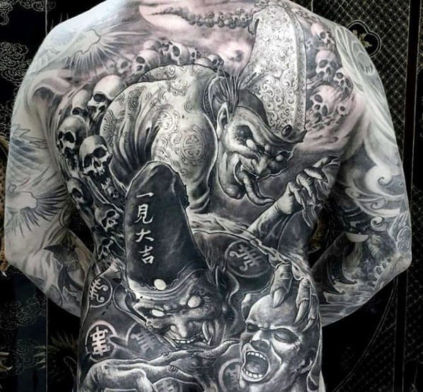 Unique Unbelievable Skull With Demons Guys Full Back Tattoo