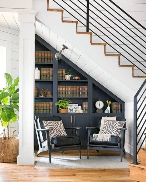 Unique Under Stairs Designs Traditional Bookcases