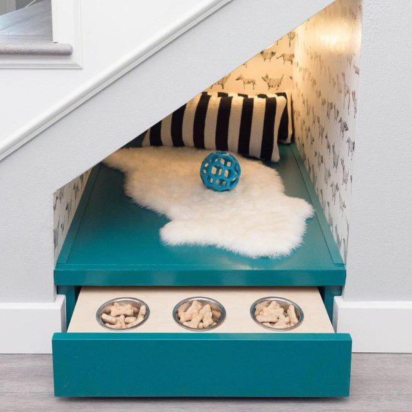 Unique Under Stairs Dog Bed With Pull Out Food Bowls Drawer