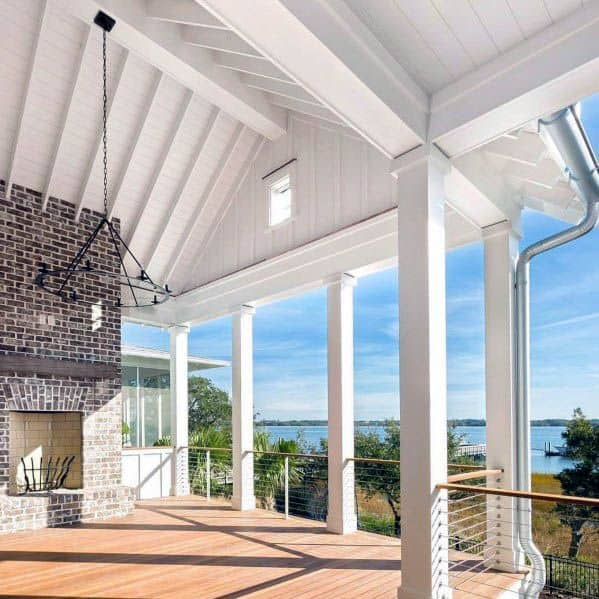 Unique Vaulted White Painted Patio Ceiling Designs