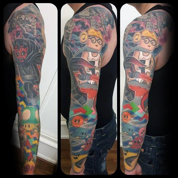Unique Video Game Themed Sleeve Mens Tetris Tattoos