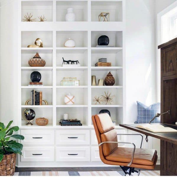 Unique White Office Floor To Ceiling Bookshelves Home Ideas