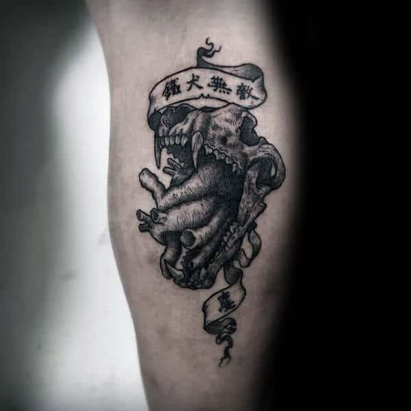 Unique Wolf Skull Male Leg Calf Tattoo Inspiration