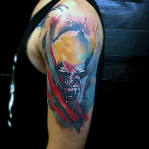 Unique Wolverine Watercolor Arm Tattoos For Guys