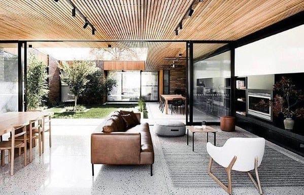 Unique Wood Slat Ceiling Living Room Track Lighting
