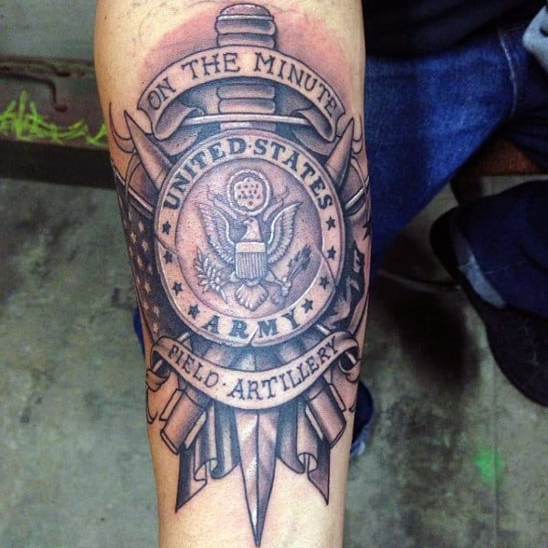 United States Army Field Artillery Mens Forearm Tattoo