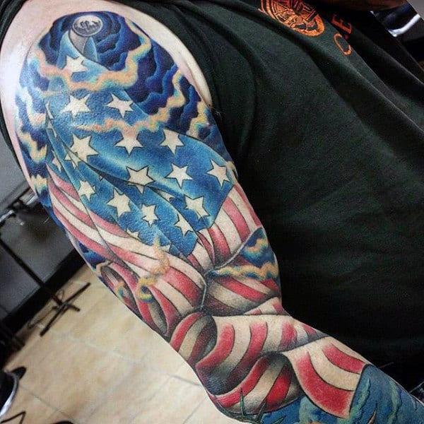United States Flag Patriotic Sleeve Tattoos For Guys