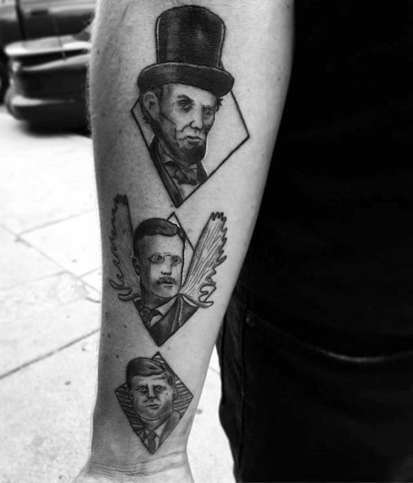 United States Presidents Themed Amazing Mens Abraham Lincoln Tattoo Designs