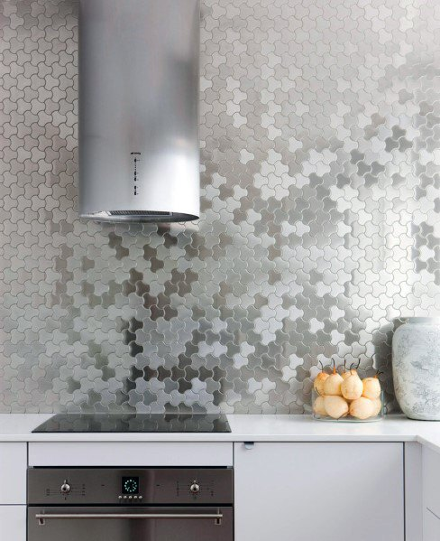 Uniue Pattern Metal Backsplash Kitchen Ideas