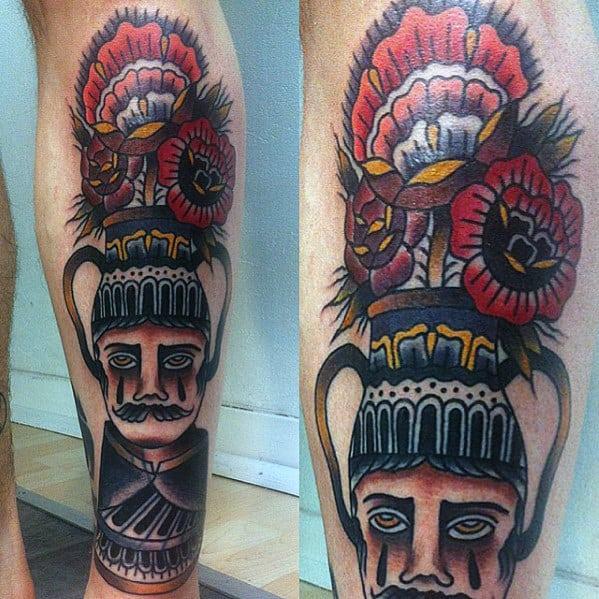 Unqiue Mens Traditional Flower Pot Old School Leg Tattoo