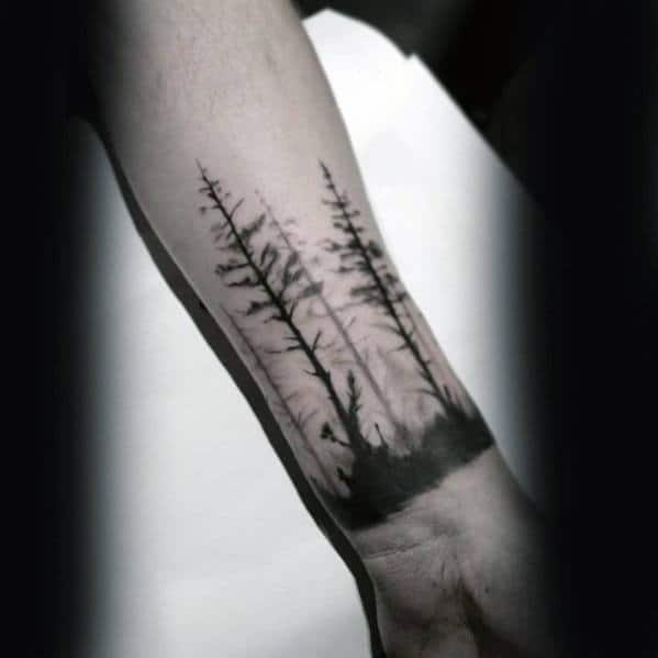 Unqiue Small Trees Mens Wrist Tattoo