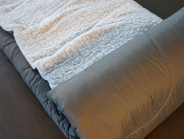 Unrolled Rumpl Puffy Sherpa Blanket