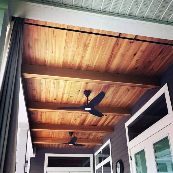 Unstained Wood Porch Ceiling Design Ideas