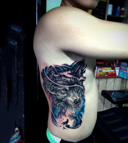 Untamed Beast Watercolor Tattoo On Side Ribs For Men
