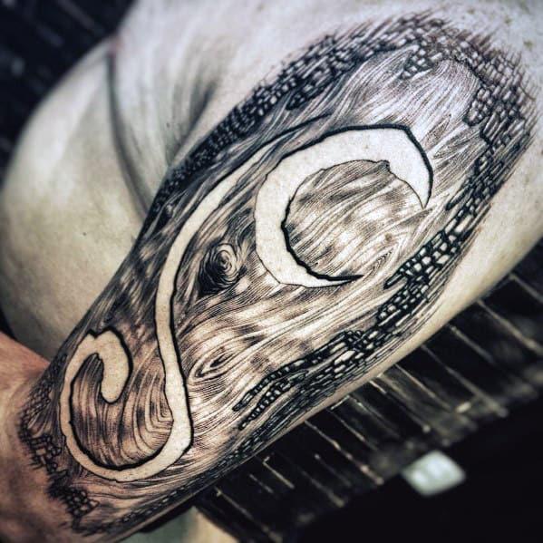 Unusual Carved Tree Trunk Mens 3d Half Sleeve Tattoos