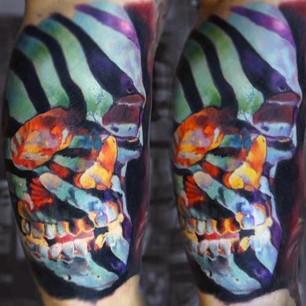 Unusual Mens Colorful Skull Half Sleeve Tattoo Designs