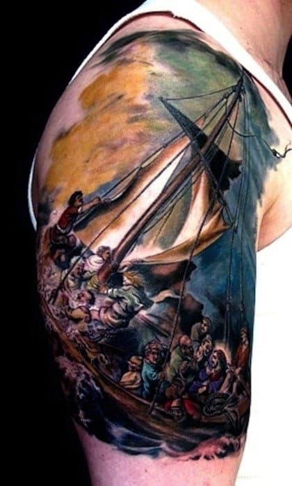 Unusual Mens Painting Watercolor Half Sleeve Tattoo