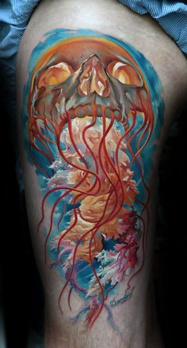 Unusual Mens Thigh Skull Jelly Fish Tattoo Designs