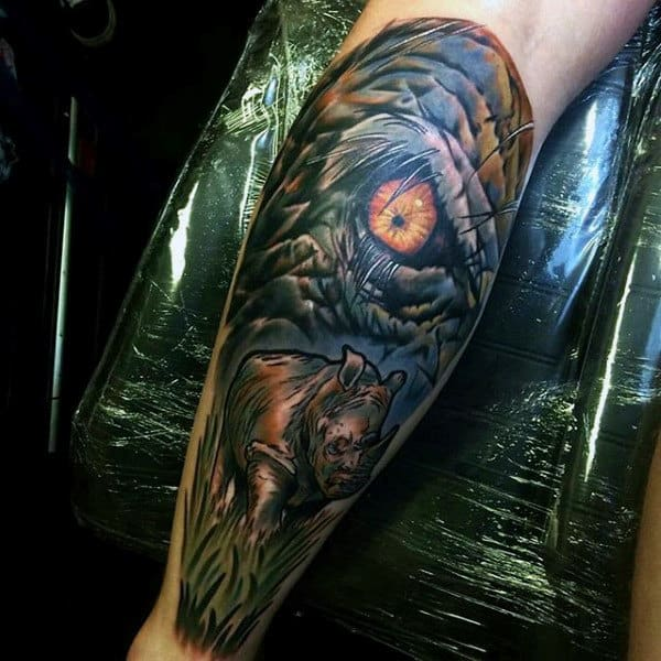Up Close Rhino Eye Mens Leg Tattoo Designs