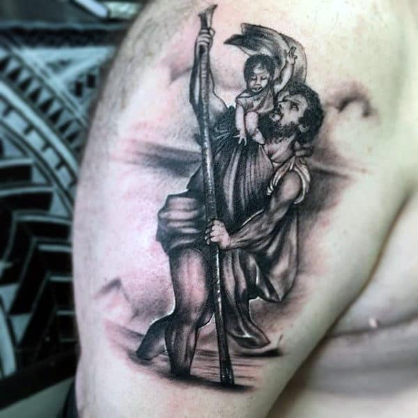 Upepr Arm Tattoo Of Saint Christopher On Guy