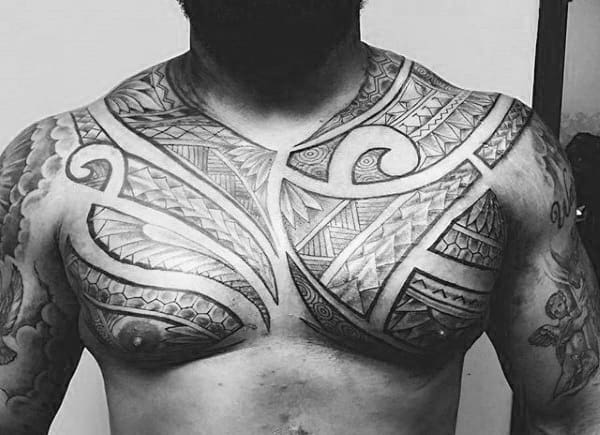 Upepr Chest Guys Pattern Polynesian Tribal Tattoos