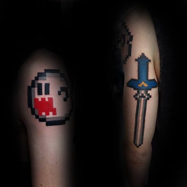 Upper And Back Of Arm Guys 8 Bit Tattoo Esigns