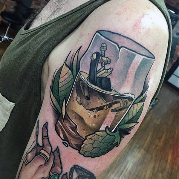 Upper Arm 3d Beer Male Tattoos