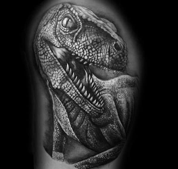 Upper Arm 3d Heavily Shaded Black And Grey Jurassic Park Tattoos For Males