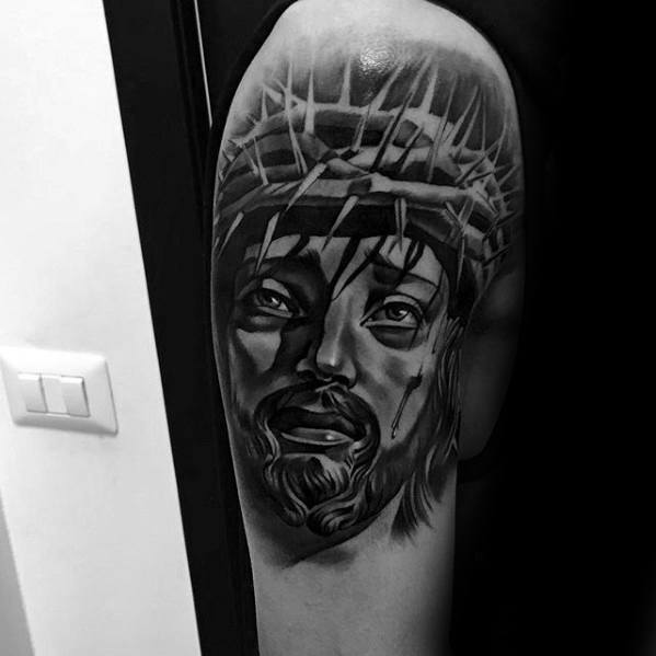 Upper Arm 3d Jesus Tattoo Ideas On Guys