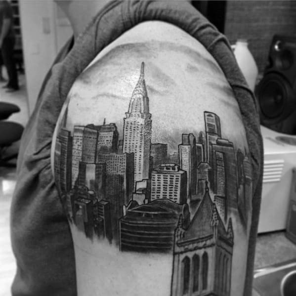Upper Arm 3d Mens New York Skyline Tattoo