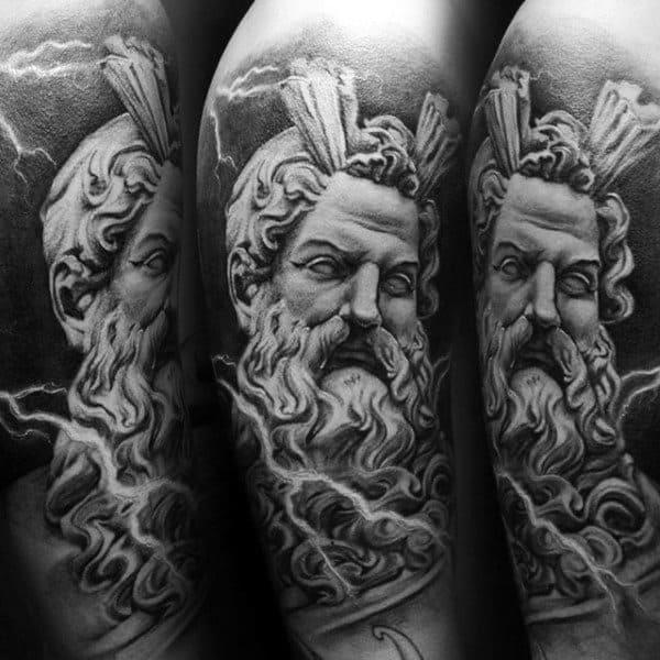 Upper Arm 3d Mens Zeus Tattoos